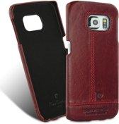 Pierre Cardin Backcover hoesje Rood - Stijlvol - Leer - Galaxy S6 Edge  - Luxe cover