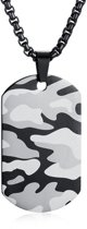 Camouflage Dogtag kettinghanger inclusief ketting