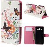 Samsung galaxy J5 vlinders kleuren wallet hoesje