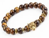 Victorious Luipaard Bruin Natuurstenen Kralenarmband – Unisex armband – 17.5cm