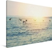 Meeuwen vliegen over de zee Canvas 140x90 cm - Foto print op Canvas schilderij (Wanddecoratie woonkamer / slaapkamer)