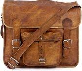Vintage Look Messengertas  Bruin Leer - Laptoptas 16 '' –- ECHTE LEDER Boekentas - Schoudertas  A4 – Granada  + Kadoverpakking GRATIS bij