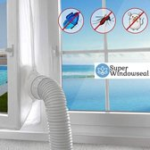 Super Windowseal kit - raamafdichting voor mobiele airco apparaten - Waterdicht - Insectenvrij - in gebruik met airco of staande ventilator - fitting kit - raam afdichting- 400cm - Zijlengte 90X210 CM -