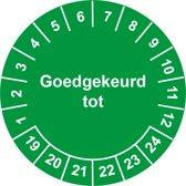 Keuringssticker Goedgekeurd tot  Ø 20 mm - 1100 stickers (op rol)