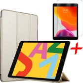 iPad 10.2 (2019) Hoes + Screenprotector - Tri-Fold Book Case Hoesje - iCall - Goud