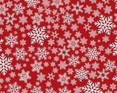 Kerst Vinyl Placemat | Sneeuwvolkjes Rood / Wit | 1 stuk