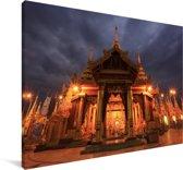 Wolken boven de Schwedagonpagode in Myanmar Canvas 140x90 cm - Foto print op Canvas schilderij (Wanddecoratie woonkamer / slaapkamer)