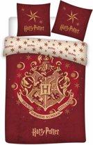 Harry Potter - Dekbedovertrek - Eenpersoons - 140x200 cm + 1 kussensloop 63x63 cm - Rood