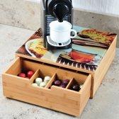 Koffiemachine standaard & koffie capsule houder in 1 - Bamboe - 8 vaks - 30 x 31 cm - theedoos