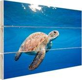 Schildpad in de oceaan Hout 30x20 cm - klein - Foto print op Hout (Wanddecoratie)