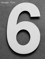 Xaptovi Huisnummer 6 Materiaal: RVS - Hoogte: 15cm - Kleur: RVS