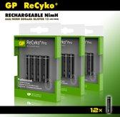 GP AAA oplaadbare batterijen - Recyko+ Pro - 800 mAh -voordeelverpakking - 12 stuks