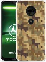 Moto G7 Hoesje Pixel Camouflage Brown