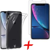 Transparant Hoesje voor Apple iPhone Xr Soft TPU Gel Siliconen Case + Tempered Glass Screenprotector Transparant iCall