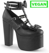 Torment-600 pump with T-strap and stud detail black vegan leather - (EU 40 = US 10) - Demonia