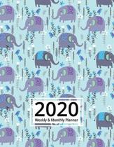 2020 Weekly and Monthly Planner: Elephant 8.5 x 11 Organizer from Jan 1, 2020 to Dec 31, 2020 Calendar Views, Inspirational Quotes