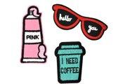 Strijk embleem 'Hello you, I need coffee patch set (3)' – stof & strijk applicatie
