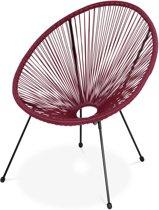 ACAPULCO stoel ei-vormig -Bordeaux- Stoel 4 poten retro design, plastic koorden, binnen/buiten