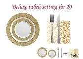 Deluxedisposables  - Luxe Kerst wegwerp eenmalig plastic tafel serviesset  voor 20 personen-wit  met gouden kanten boord.