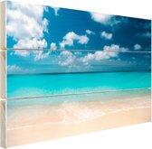 Tropische zee en strand Hout 80x60 cm - Foto print op Hout (Wanddecoratie) / Zee en Strand