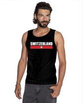Zwart Switzerland supporter mouwloos shirt heren - Zwitserland singlet shirt/ tanktop XL