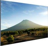 Een vulkaan op Bali Aluminium 90x60 cm - Foto print op Aluminium (metaal wanddecoratie)