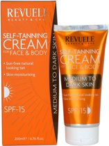 Revuele Self-Tanning Cream for Face and Body - Medium to Dark Skin 200ml.