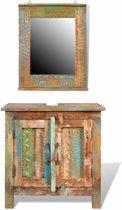 vidaXL Badkamerset met kastje en spiegel van gerecycled hout