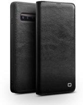 Qialino - echt lederen luxe wallet hoes - Samsung Galaxy S10 - Zwart
