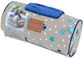 Lief! comfort kussen voor houten hondenmand boys beige / blauw 30x15 cm