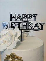 Gatsby Happy Birthday - Taarttopper Zwart