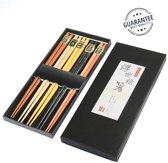Japanse Eetstokjes - Bamboe - 23 cm - Herbruikbaar - 5 Paar - 5 verschillende kleuren | Pride Kings®