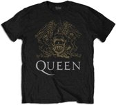 Queen - Crest heren unisex T-shirt zwart - XL