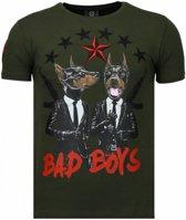 Local Fanatic Bad Boys Pinscher - Rhinestone T-shirt - Groen - Maten: S