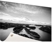 Noordzee eilanden zwart-wit foto Tuinposter 200x100 cm - Tuindoek / Buitencanvas / Schilderijen voor buiten (tuin decoratie) XXL / Groot formaat!
