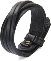 Leren Armband - Zwart - Verstelbaar - Giftbox - 25cm
