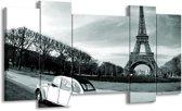 Schilderij | Canvas Schilderij Steden, Parijs | Grijs, Groen | 120x65cm 5Luik | Foto print op Canvas
