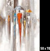 Canvas Schilderij * Abstracte Sfeer in de Regen * - Kunst aan je Muur - Modern - kleur - 50 x 70 cm