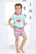Kinderpyjama Taro Wanesa 2091 groen met opdruk en grijze broek - 104
