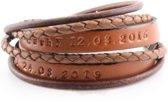 Leren Naam Wikkel Armband - te personaliseren met een tekst naar keuze!