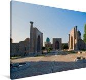 Zonsondergang bij het Registanplein in Oezbekistan Canvas 60x40 cm - Foto print op Canvas schilderij (Wanddecoratie woonkamer / slaapkamer)