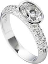 Diamonfire - Zilveren ring met steen Maat 19.5 - Schuine ovale steen - Band pav' bezet