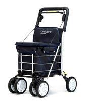 Carlett Lett800 Boodschappentrolley - 29 L - 4 wielen - zitten - opvouwbaar - veiligheidsrem - zwart