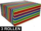 3x Inpakpapier met strepen 200 x 70 cm op rol type 1 - cadeaupapier