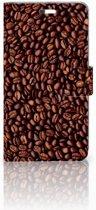 Huawei P9 Plus Uniek Hoesje Koffiebonen met 3 Opbergvakjes