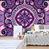 Fotobehang Purple Ethnic Pattern   V8 - 368cm x 254cm   130gr/m2 Vlies