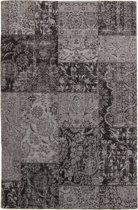 Groot Vintage vloerkleed met Retro Patchwork Patroon 300X380 DonkerGrijs/Zwart