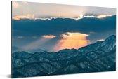 Zonsondergang boven het Moiwa gebergte in Japan Aluminium 90x60 cm - Foto print op Aluminium (metaal wanddecoratie)