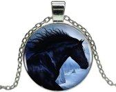 Fako Bijoux® - Ketting - Cabochon - Paard - Zwart