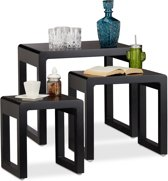 relaxdays Nesttafels set van 3 - bijzettafels - gelakt hout - salontafel - koffietafel zwart